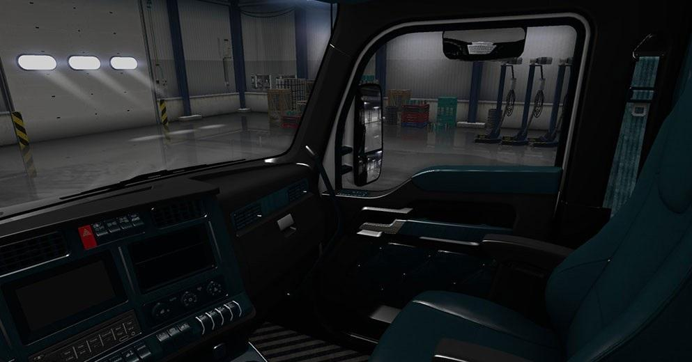 kenworth t680 black teal interior 2 american truck simulator mods ats mods. Black Bedroom Furniture Sets. Home Design Ideas