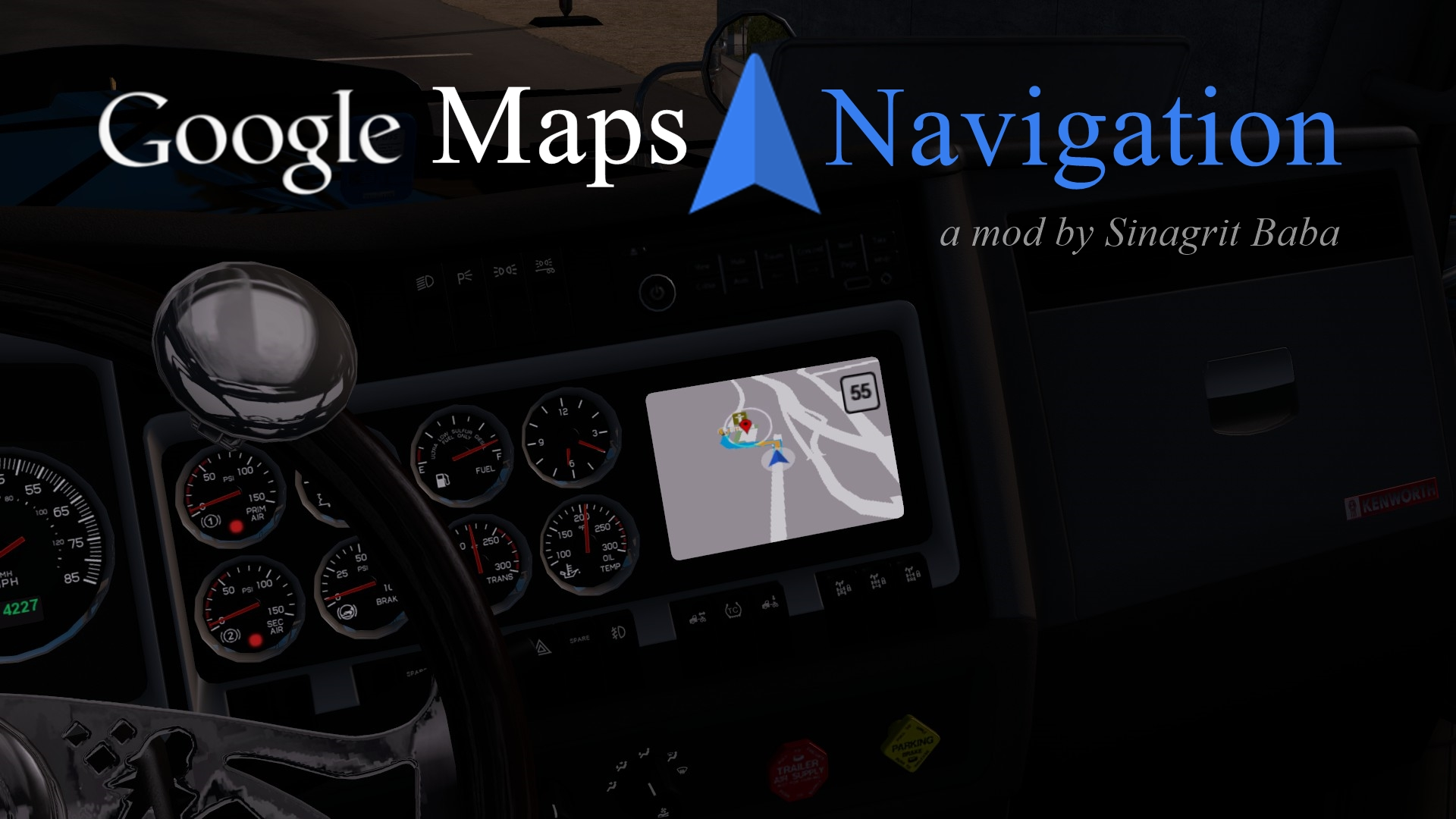 Google Maps Navigation v1.9 • ATS mods | American truck ... on google satellite live camera, facebook airplane, mapquest by airplane, apple maps airplane, google earth airplane, google airplane simulator, sketchup airplane,