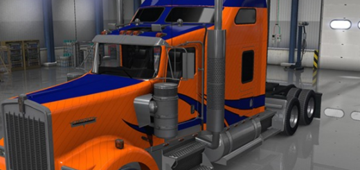 Kenworth-W900-Blue-Stripes-on-Orange-Paint-mod-3