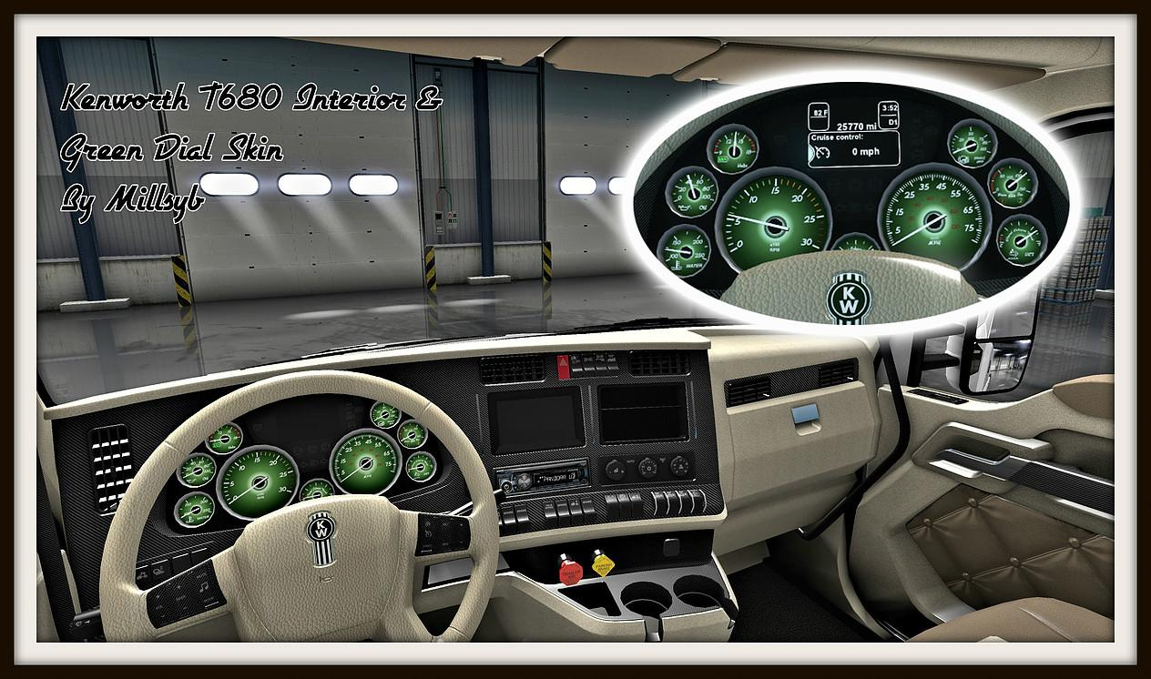Kenworth T680 Interior U0026 Green Dial Skin Design Ideas