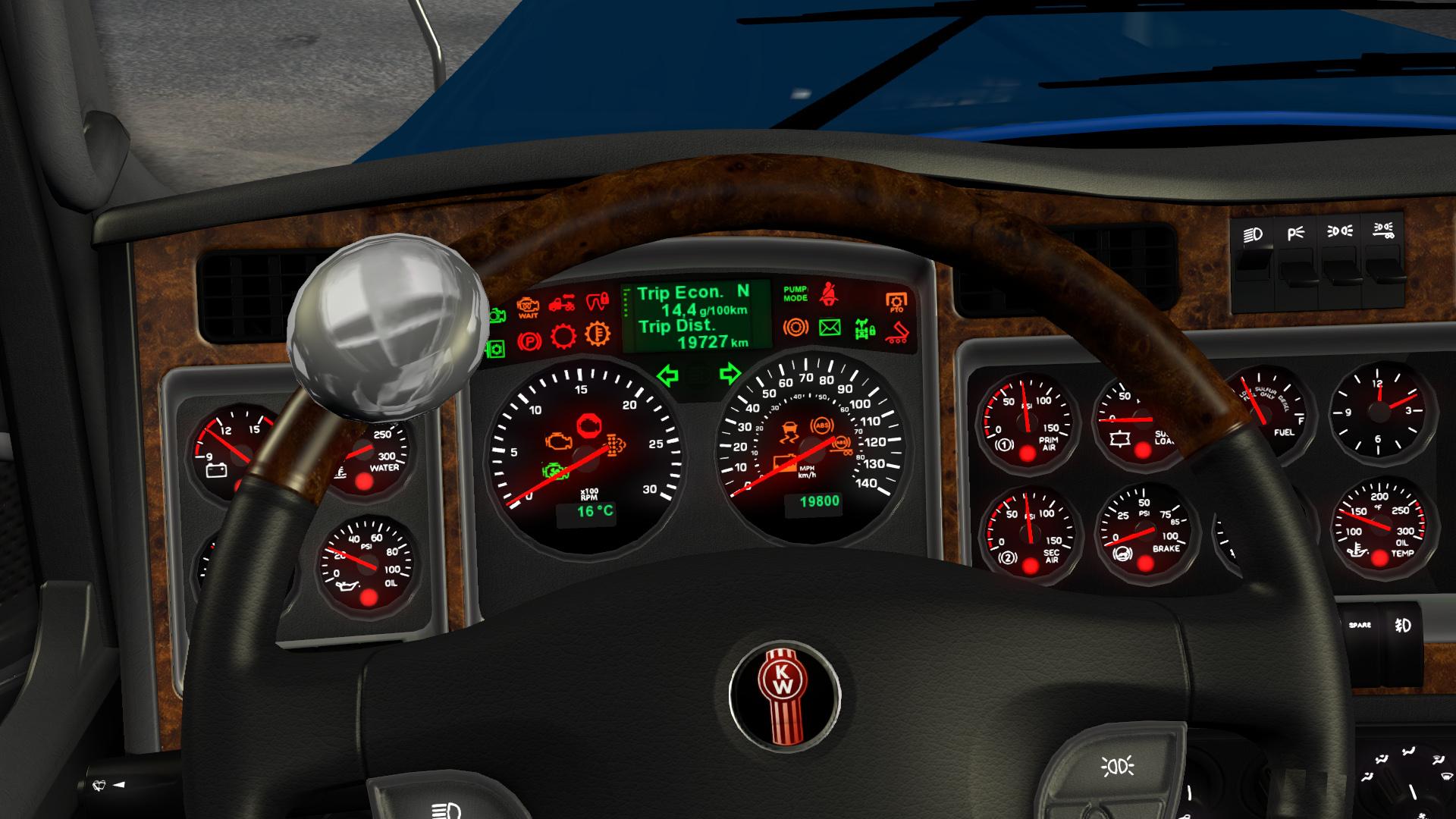 Speedometer dasboard Kenworth W900 KM/H • ATS mods ...